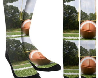 Football Crew Socks - Football Socks - Crazy Socks - Unique Socks - Novelty Socks - Cool Socks - Mens Football Socks - FREE Shipping C92