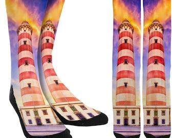 Lighthouse Socks - Mens Novelty Socks - Womens Novelty Socks -Mens Crazy Socks - Womens Crazy Socks - Crew Socks - FREE Shipping E44