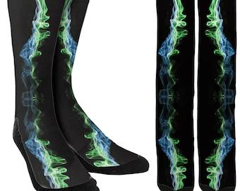 Electric Galaxy Crew Socks - Cool Socks - Mens Novelty Socks-Womens Novelty Socks-Galaxy Socks-Crazy Socks-Novelty Socks - FREE Shipping E40