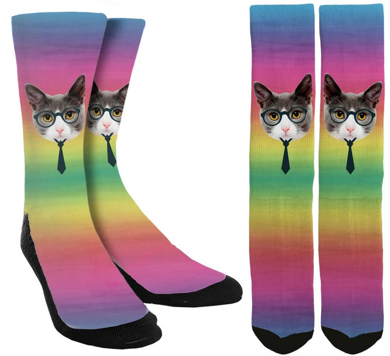 7a93a937b1c Chat Crew Socks chat chaussettes chats Kitty chaussettes