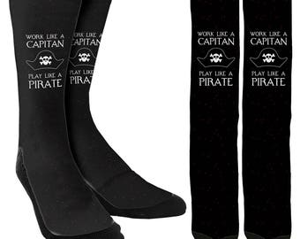 Work Like a Captain, Play Like a Pirate - Crew Socks - Funny Socks - Crazy Socks -Novelty Socks-Cool Socks- 100% Comfort - FREE Shipping A17