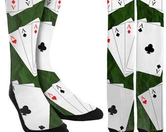 Aces Crew Socks - Deck of Cards Socks- Poker Socks - Mens Socks - Unique Socks - Novelty Socks -Cool Socks -100% Comfort - FREE Shipping B34