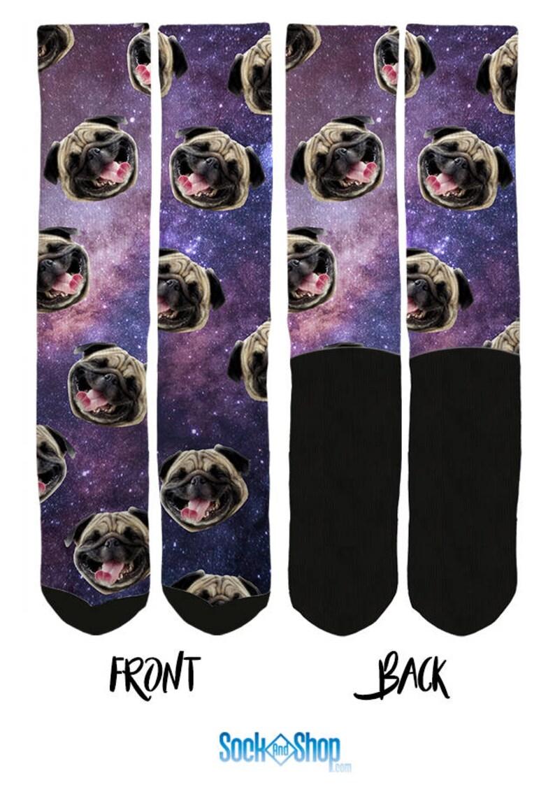 Funny Socks Socks with Pugs Dog Socks Cool Socks Pugs in Space Socks -Pug Socks Novelty Socks FREE Shipping B03