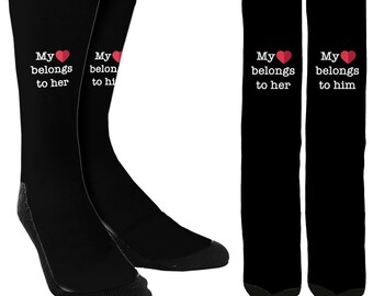 Couple Socks - Bae Socks - Relationship Socks - Couple Clothing - Gifts for Her - Gifts for Him -Clothing - FREE Shipping C18