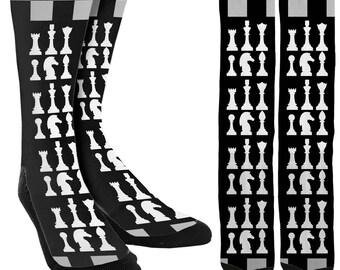 Chess Socks - Crew Socks - Mens Novelty Socks - Crazy Socks - Cool Socks -Unique Socks -Crazy Socks for Men -Mens Socks - FREE Shipping A66
