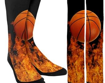 Fire Basketball Crew Socks - Basketball Socks - Mens Socks - Womens Socks - Athletic Socks - Unique Socks -Novelty Socks - FREE Shipping B45