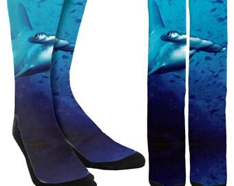 Shark Crew Socks - Sharks - Novelty Socks - Unique Socks - Crazy Socks - Mens Socks - Womens Socks - Beachwear -Clothing - FREE Shipping A26