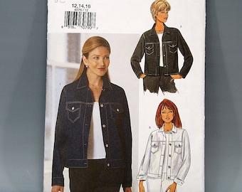 5bd6e9679 Butterick 6376, Jean Jacket, Size 12 - 16, UNCUT, Misses, Cuff, Pockets,  Long Sleeve, Denim Jacket, Sewing Pattern