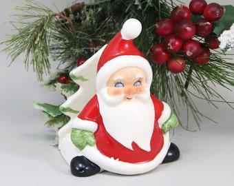 Vintage Santa Napkin Holder Lefton Like Christmas Dinnerware Accessory Decor Christmas Card Holder Letter Holder Ornament Accent