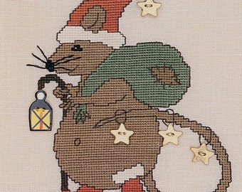Etsy your place to buy and sell all things handmade santa mouse cross stitch kit christmas decor diy 1995 vintage gift for her do it yourself home decor traditional sigrid designs solutioingenieria Gallery