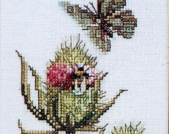 Cross stitch kit sampler art diy traditional next step etsy marjolein bastin cross stitch kit thistle dipsacus silvester butterfly lanarte art diy gift for her do it yourself home decor solutioingenieria Gallery