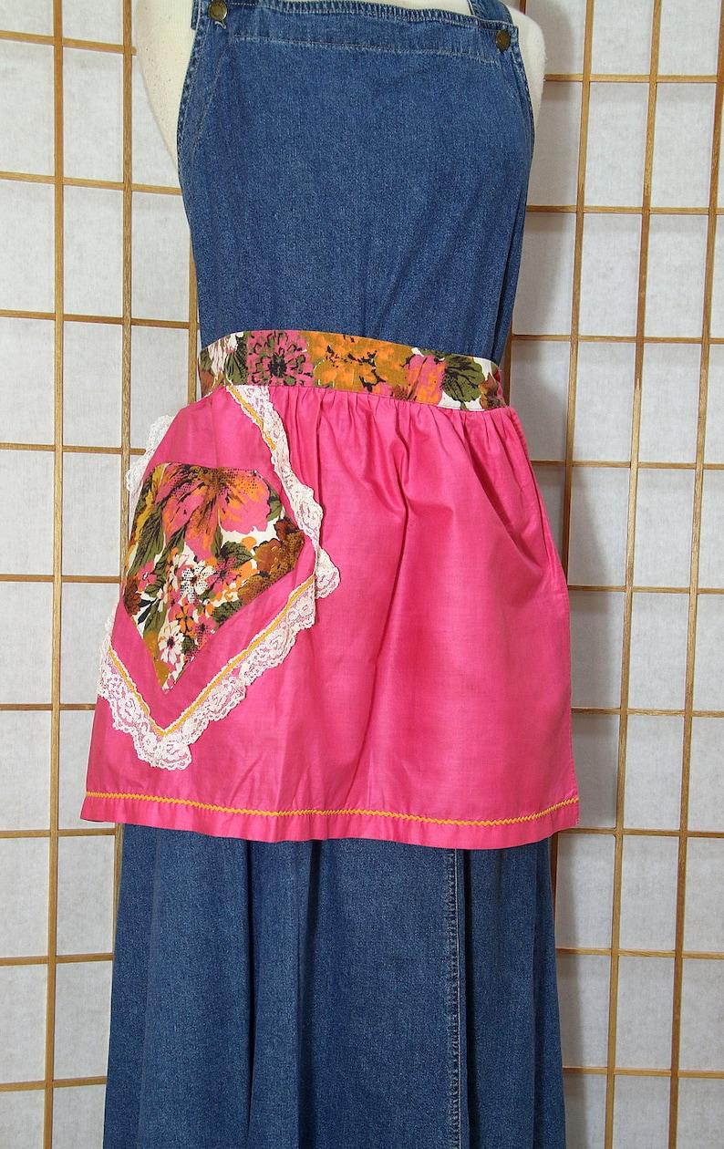 Handmade Apron Pink Half Hostess Floral Pocket