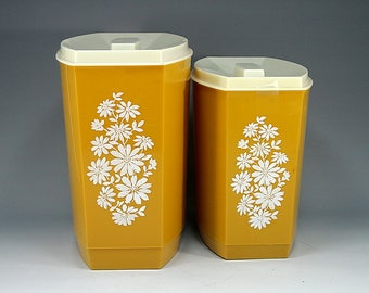 2, Lustro Ware, Canisters, Gold, White, Floral, Flower, Cottage Chic, Gift for Her, Gift, Birthday Gift, Home Décor, Boho, Country Kitchen