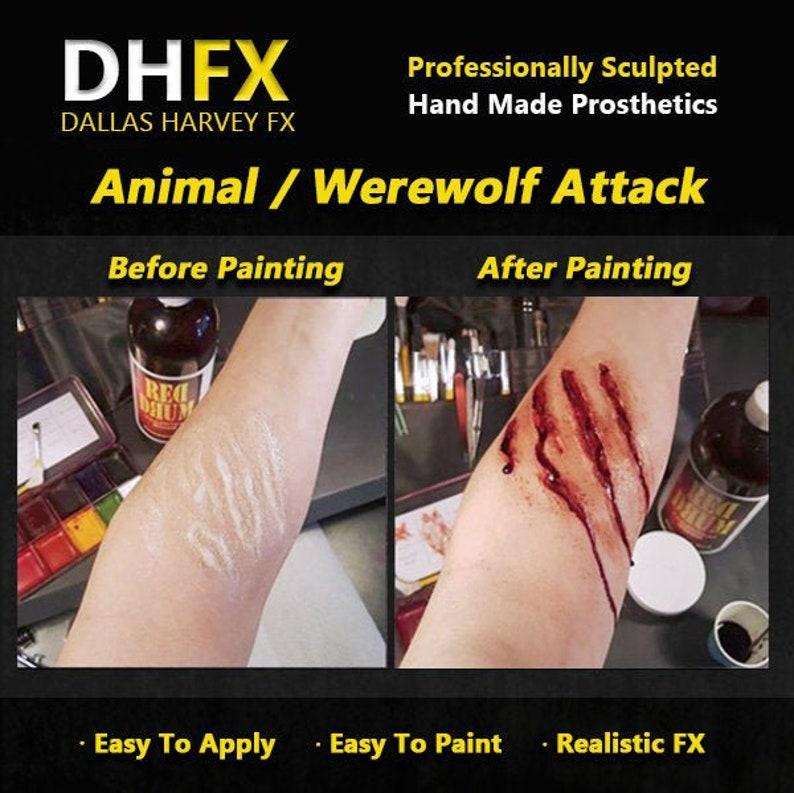 Animal  Werewolf Attack 3D Bondo Transfer Prosthetic  Latex free  Cosplay  DHFX