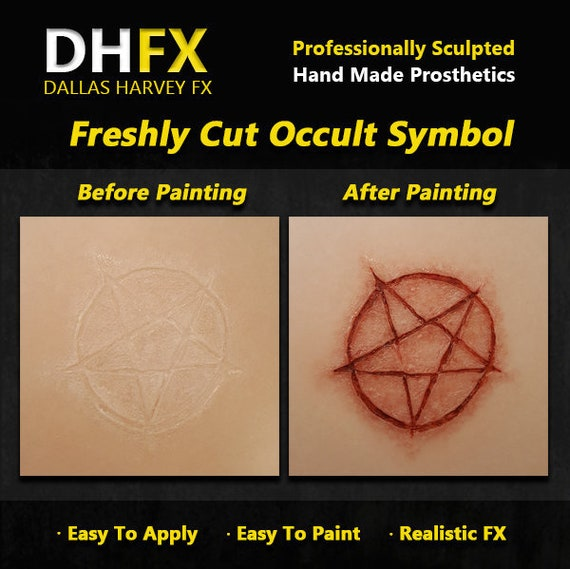 Freshly Cut Occult Symbol  3D Bondo Transfer Prosthetic  Latex free  Cosplay  DHFX