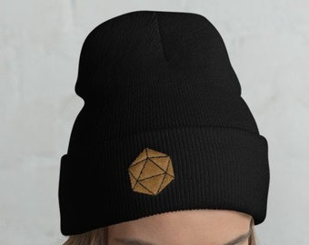 896549a0255 Gold D20 Dice Dungeons and Dragons embroidered Knit Beanie