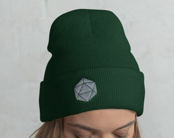 94d445000e8 Grey D20 Dice Dungeons and Dragons Knit Beanie