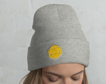 Yellow D20 Dice Dungeons and Dragons Knit Beanie 8b85c8c5d02