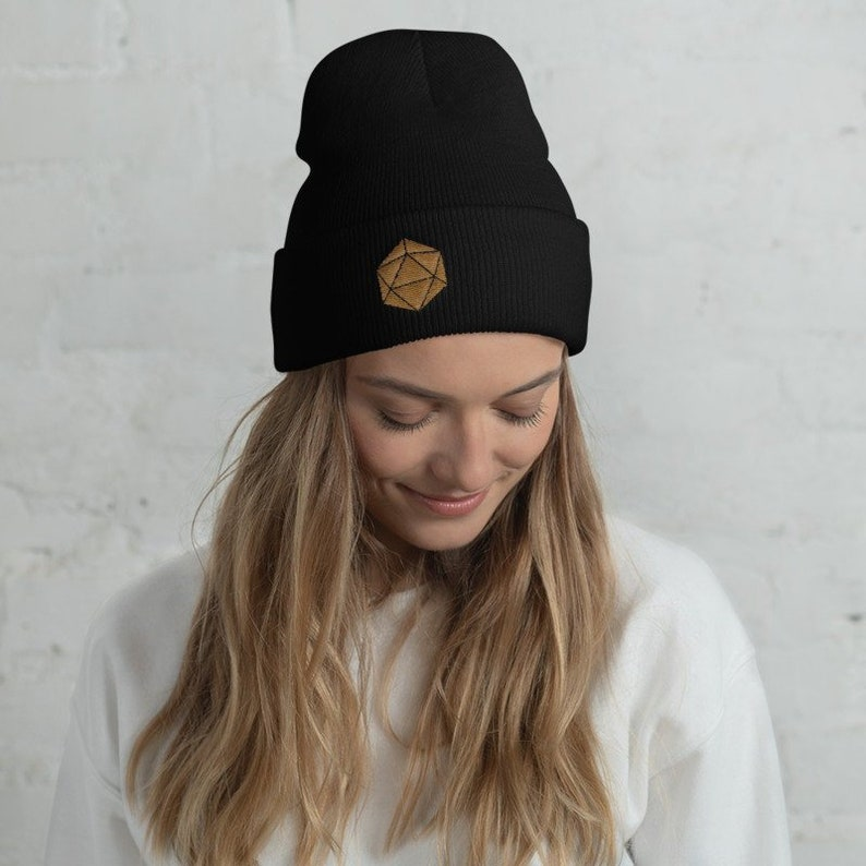 62f2095bc29 Gold D20 Dice Dungeons and Dragons embroidered Knit Beanie