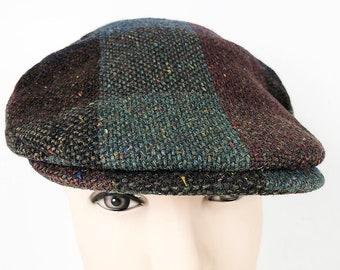 db95a353b607 Donegal Tweed Irish Flat Cap by Hanna Hats - Plaid Knit Cap Vintage Wool  Authentic Irish Newsboy Cap Size Medium Plaid Wool Hat Drivers Cap