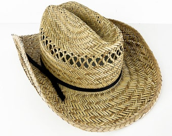 6b4609b76516a Straw Bush Hat Rancher Hat by Dorfman Pacific - 90s Vintage Vented Sun Hat  - Woven Straw Rush Hat Size Small Medium 7 1 4 Aussie Cowboy Hat