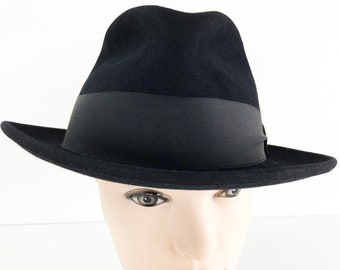 15cdb2f40f3 70s Fur Felt Fedora - 5X Quality Black Fedora with Wide Ribbed Fabric Band    Bow - Beaver Brand Fur Felt Fedora - Beaver Fur Hat Size 7 3 8