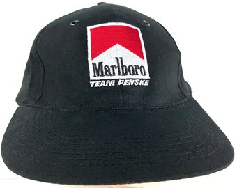 b301cda9aec Marlboro Team Penske Cap Vintage Trucker Hat - Marlboro Racing Team Black  One Size Cap Marlboro Cigarettes Baseball Cap - Smoking Cap