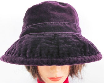 5e6fc5c8be2 Purple Velvet Bucket Hat - Vintage Banana Republic Vented Soft Floppy  Cotton Hat Size Medium - Purple Velvet Hat Stitch Striped Brim