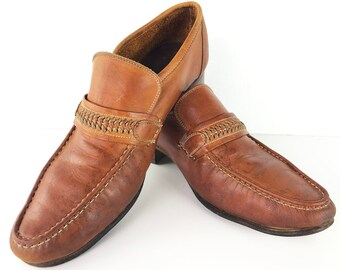 ff3a765a178 80s Moc Toe Loafers with Braided Leather Accent Straps by Thom McAn -  Chestnut Slip Ons with Leather Soles Stacked Wood Heels Mens 8 D