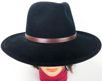 2731283d4913f Black Wool Cowboy Hat Fedora with Brown Leather Hat Band Size Small - Lite  Felt Water Repellent Cowgirl Hat Made in USA by Minnetonka
