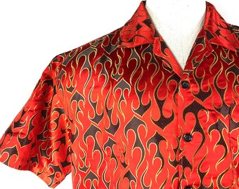 336cf234c 90s Flame Print Shirt - Unisex Large 1990s Vintage Short Sleeve Shirt  Button Down - Flame Pattern Bachelor Party Tee - This Shirt Is Fire