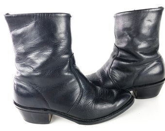 1e1a5adb8 90s Cowboy Beatle Boots Side Zipper Black Western Ankle Boots by Durango -  Mens 8 Womens 9 1/2 Vintage Black Leather Boots