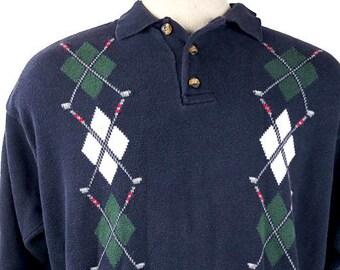 91c312fd2 90s Tommy Hilfiger Golf Sweater - Argyle Golf Shirt Mens Large - Blue-Black  Button-Up Vintage Tommy Hilfiger Golf Club Shirt Polo Sweater