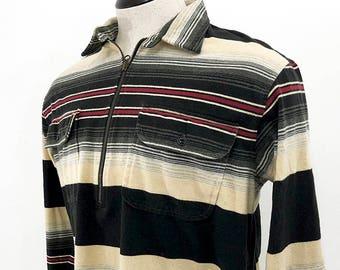 Striped Polo Shirt \u2014 2-Pocket Long Sleeve Cotton Dress Shirt with Zipper  Mens L \u2014 90s Polo Ralph Lauren Shirt with Cream Black \u0026 Red Stripes