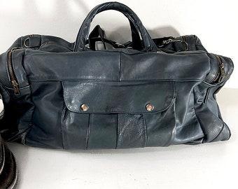 8a613654e6 Vintage Blue Leather Duffle Bag - XL Travel or Athletic Bag with Shoulder  Strap and Tote Handles in Steel Blue - Weekender Bag Gym Bag
