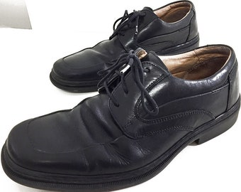 a68f2777647a Mens 8 Italian Leather Shoes Black Oxfords - 90s Vintage Bostonian 4-Eyelet  Tie Shoes - 90s Fashion Mens Dress Shoes