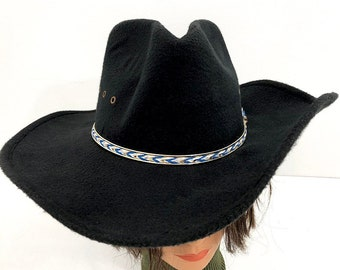 148e346fed4bc Westworld Black Cowboy Hat with Blue   White Band - Western Express Wool  Felt Cowgirl Hat Size S M - Black Gambler Hat with Vented Crown