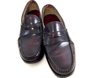 9af8c26810c Mens 9.5 Burgundy Loafers Leather Hanover Slip-Ons - 80s Preppy Oxblood  Brown Penny Loafers - Oxblood Leather Mens Dress Shoes Made in USA