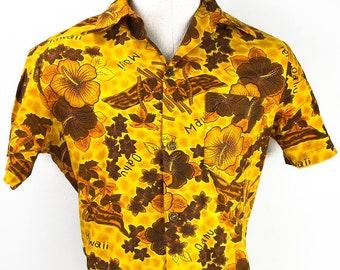 cafe51150a6e Authentic Hawaiian Shirt 70s Vintage Floral Aloha Shirt Size L - Hibiscus  Tropical Flowers Oxford - Hawaiian Shirt Royal Flowered Shirt