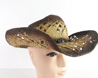 f486616e Waxed Straw Sun Hat 90s Cowboy Hat Wide Brim Ranchers Hat Woven Straw  Western Hat Waterproof Sun Hat One Size Fits All Treated Straw Hat
