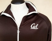 Cal Berkeley Jacket Chocolate Brown Champion Full Zip Windbreaker 80s Athleisure - Women 39 s XL Men 39 s L Warm-Up Jacket Track Suit Top Used Vtg