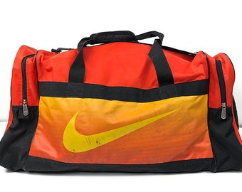 Beautifully Beat Nike Duffel Bag - Large Nike Swoosh Vintage Travel Bag  with Tote Handles   Shoulder Strap - Distressed Nike Athletic Bag 66b704e26e