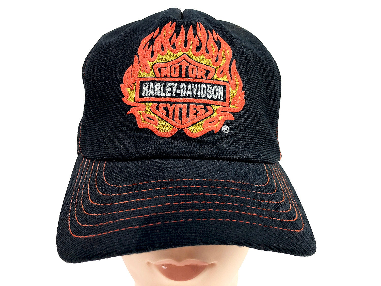 b963ef6bc 90s Harley-Davidson Trucker Hat - Flaming Orange Harley Logo Hat - 1 Size  Mesh Snapback Cap - Motorcycle Hat Women Hipster Clothing Moto Cap