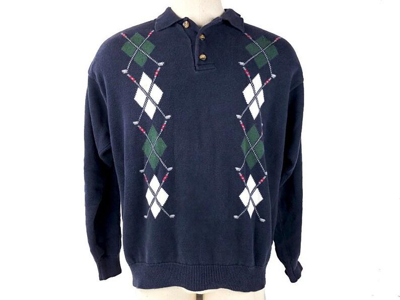 90s Tommy Hilfiger Golf Sweater Criss-Cross Golf Clubs  8f98c9eba
