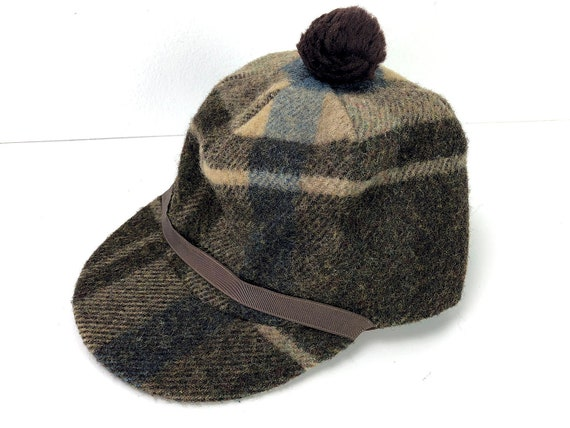 Vintage Plaid Winter Bill Cap Wool Blend Beanie Cap Size 7  5af7f8c6e8d