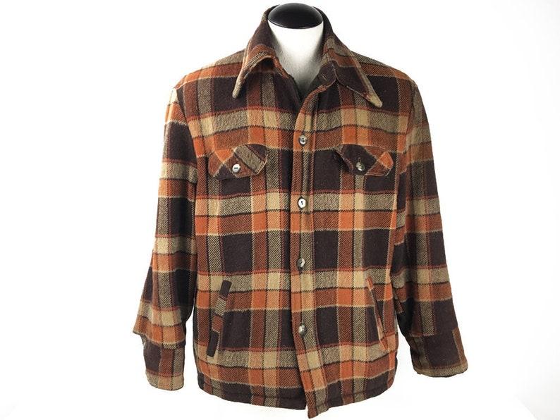 4f5f381760 Grunge Jacket Flannel Coat 60s Sears Distressed Shirt Jacket