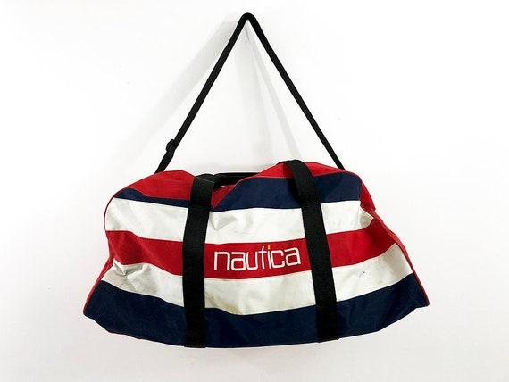 7a65e5cce0 Large Nautica Duffel Bag Travel Bag Red White   Blue Bag