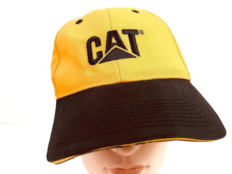 8d26a3403 Caterpillar Tractor Hat Work Wear Vintage Trucker Hat - Cat Hat Cat  Snapback Cap - Cat Lover Gift - Yellow & Black Caterpillar Logo Hat