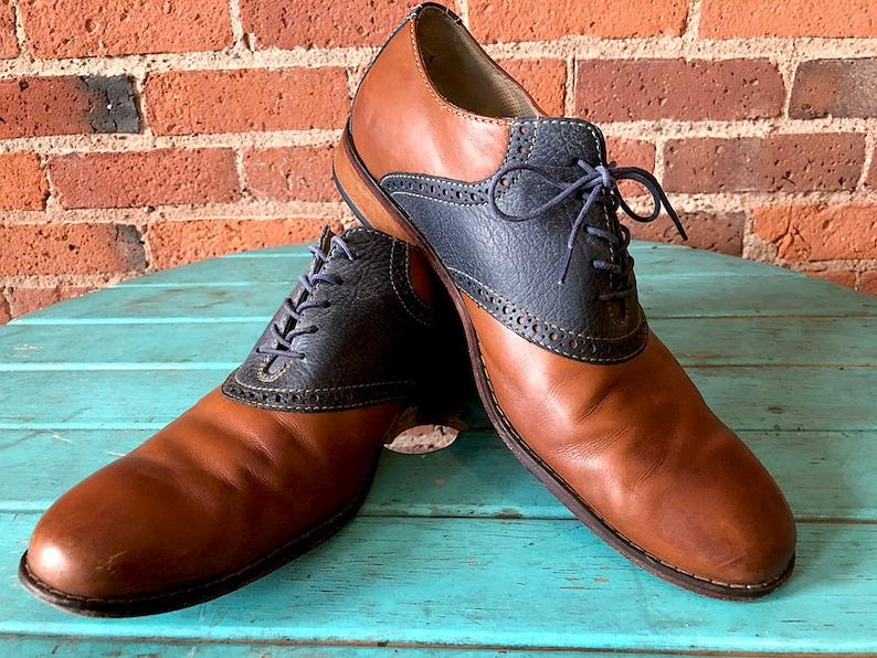 e215c45c00ef Mens 11.5 Blue Jean Saddle Shoes - Vintage Saddle Shoes Navy Blue   Brown -  Two Tone Saddle Oxfords - Cole Haan Men s Dress Shoes