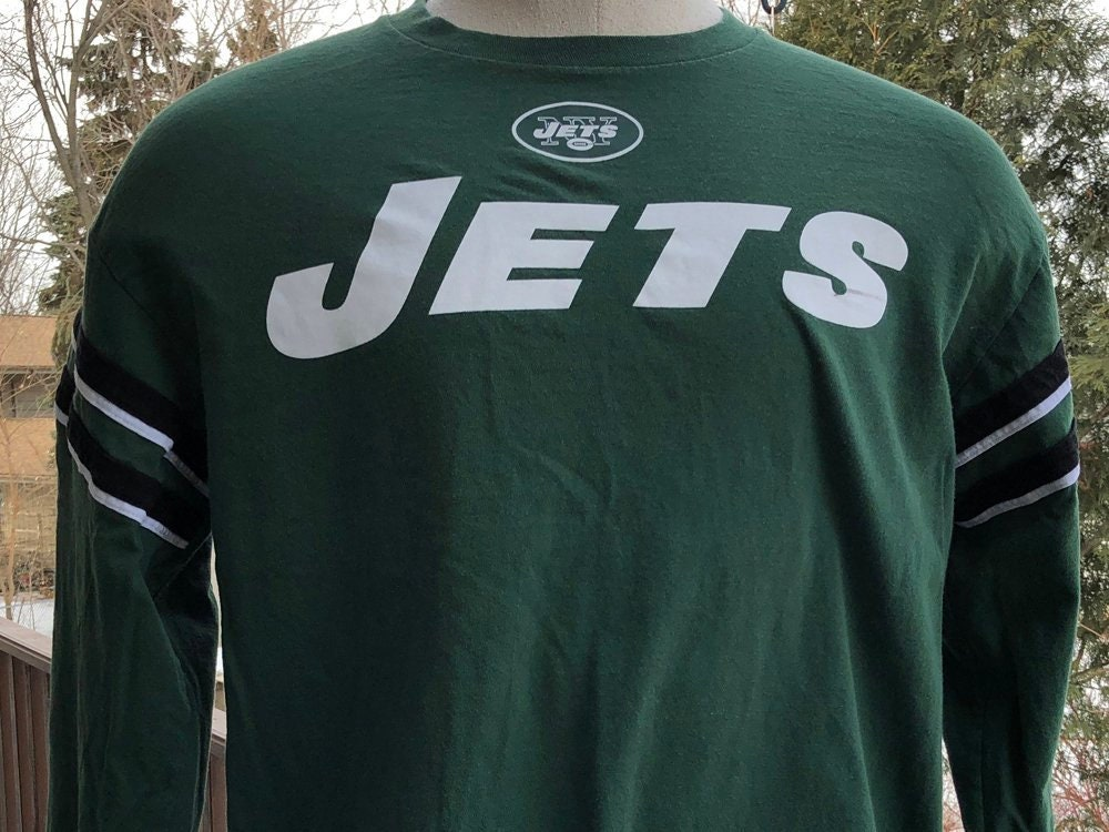 a16331ca New York Jets Long Sleeve Tee - Vintage NFL Jets New York Football T-Shirt  - Hunter Green and White Graphic Tee Mens L 100% Cotton Shirt